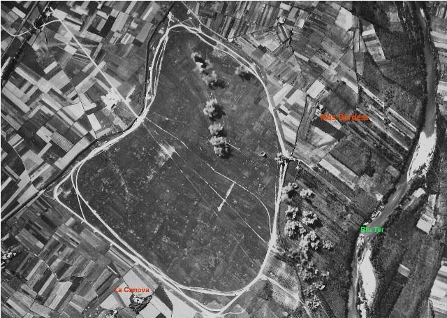 Bombardeo realizado por aviones Savoia S-79 de la  de  la Aviazione Legionaria delle Baleari durante la guerra civil de Celra (Girona)  aeropuerto